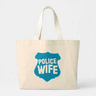 Police WIFE with officers badge shield Large Tote Bag