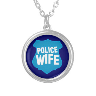 Police WIFE with officers badge shield Round Pendant Necklace