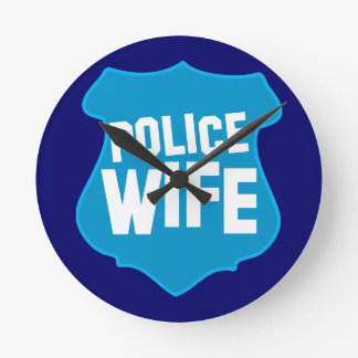 Police WIFE with officers badge shield Round Wallclocks