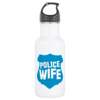 Police WIFE with officers badge shield Stainless Steel Water Bottle