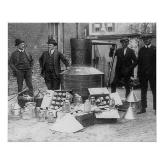Police With Confiscated Still, 1922. Vintage Photo Poster