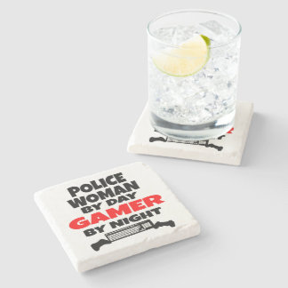 Police Woman by Day Gamer by Night Stone Beverage Coaster