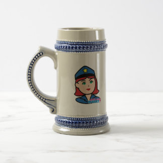 Police Woman Head - Light/Red Beer Stein