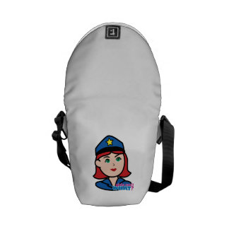 Police Woman Head - Light/Red Courier Bags