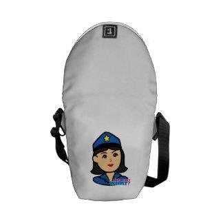 Police Woman Head Medium Messenger Bags