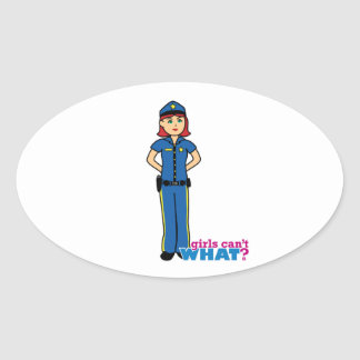 Police Woman - Light/Red Oval Sticker