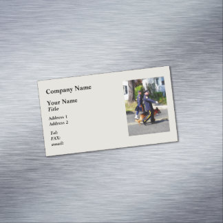 Policeman and Police Dog in Parade Business Card Magnet