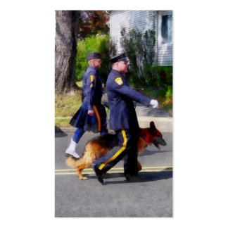Policeman and Police Dog in Parade Double-Sided Standard Business Cards (Pack Of 100)