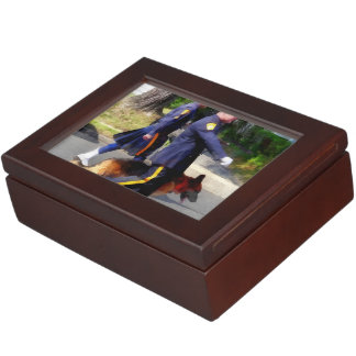 Policeman and Police Dog in Parade Keepsake Box