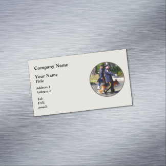 Policeman and Police Dog in Parade Magnetic Business Cards (Pack Of 25)