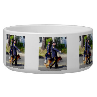 Policeman and Police Dog in Parade Pet Food Bowls