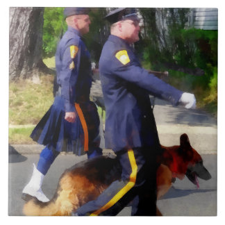 Policeman and Police Dog in Parade Tile