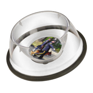 Policeman and Police Dog in Parade Pet Bowl