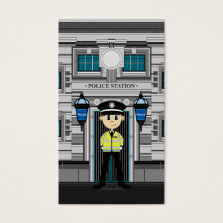Policeman and Police Station Bookmark Business Card