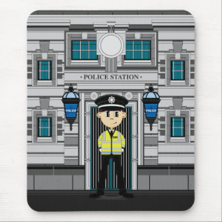 Policeman and Police Station Mousepad