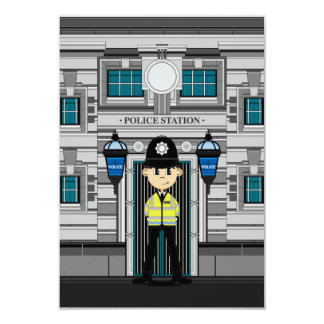 Policeman and Police Station RSVP Card