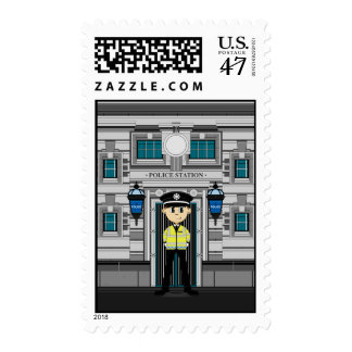 Policeman and Police Station Stamp