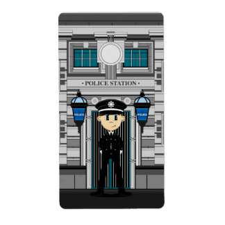 Policeman and Police Station Sticker Label