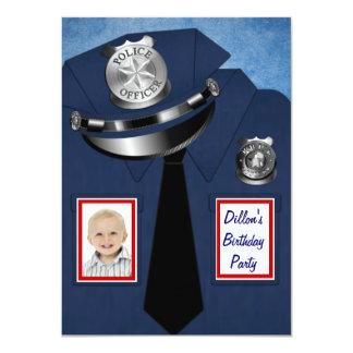 Policeman Birthday Party 4.5x6.25 Paper Invitation Card