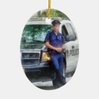 Policeman by Patrol Car Ceramic Ornament