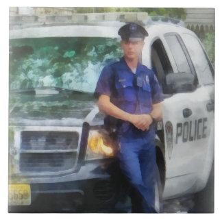 Policeman by Patrol Car Ceramic Tile