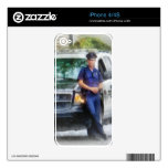 Policeman by Patrol Car Decal For iPhone 4