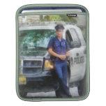 Policeman by Patrol Car iPad Sleeve