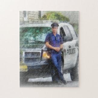Policeman by Patrol Car Jigsaw Puzzle