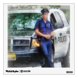 Policeman by Patrol Car Wall Decal