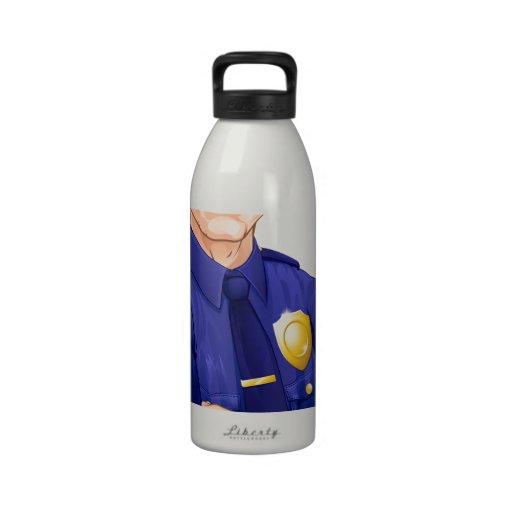 Policeman character water bottle