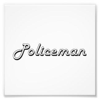 Policeman Classic Job Design Photo Print