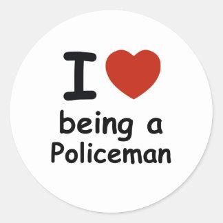 policeman design classic round sticker