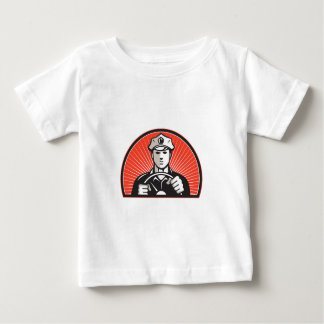 Policeman Driver Driving Steering Wheel Baby T-Shirt