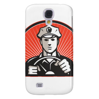 Policeman Driver Driving Steering Wheel Samsung Galaxy S4 Cover