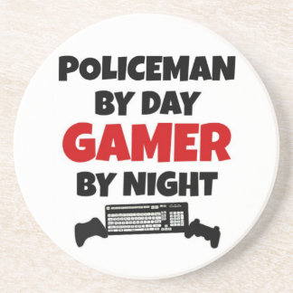 Policeman Gamer Sandstone Coaster