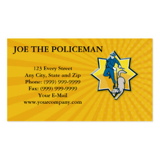 Policeman Police Dog Canine Team Business Card Template