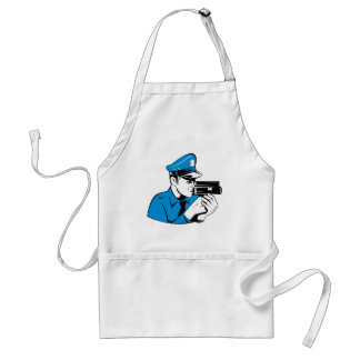 policeman police officer aiming speed camera apron