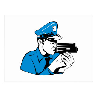 policeman police officer aiming speed camera postcard