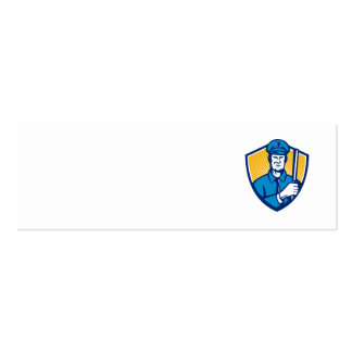 Policeman Police Officer Baton Shield Retro Double-Sided Mini Business Cards (Pack Of 20)