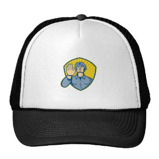 Policeman Police Officer Hand Stop Shield Hat
