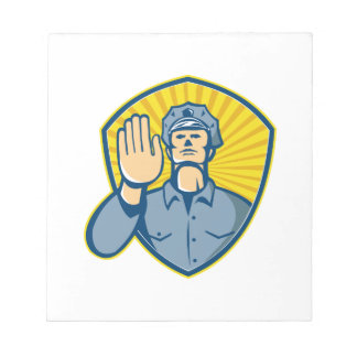 Policeman Police Officer Hand Stop Shield Notepad