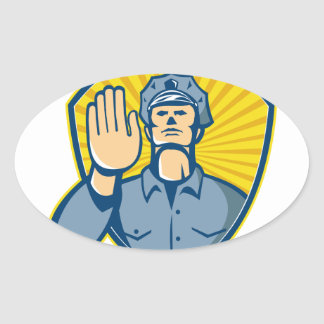Policeman Police Officer Hand Stop Shield Oval Sticker