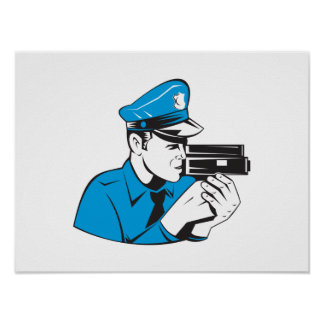 Policeman Police Officer Speed Camera Poster