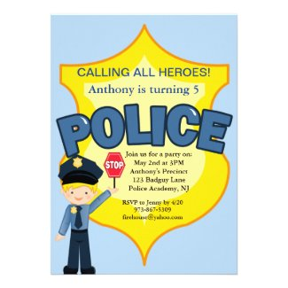 Policeman Rescue Heroes Birthday Invitation