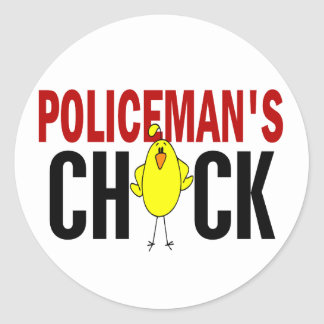 POLICEMAN'S CHICK ROUND STICKERS