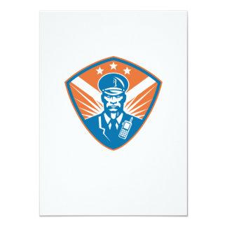 Policeman Security Guard Police Officer Crest 11 Cm X 16 Cm Invitation Card