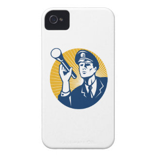 Policeman Security Guard With Flashlight Retro Case-Mate iPhone 4 Cases