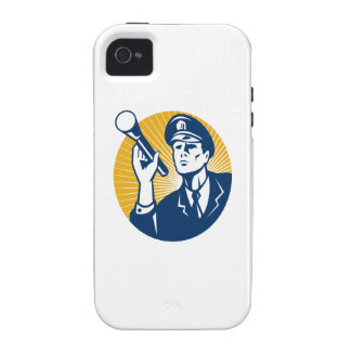 Policeman Security Guard With Flashlight Retro Vibe iPhone 4 Cover