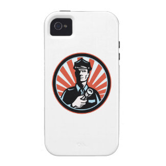 Policeman Security Guard With Flashlight Retro Vibe iPhone 4 Case