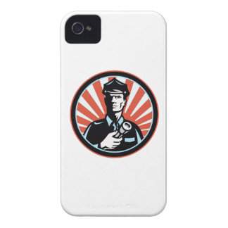 Policeman Security Guard With Flashlight Retro iPhone 4 Case